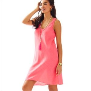 Lilly Pulitzer Patterson Linen Dress In Hot Coral